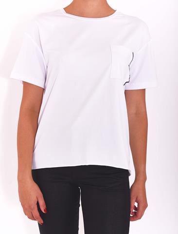 Bayan Beyaz Nakış Detaylı T-Shirt